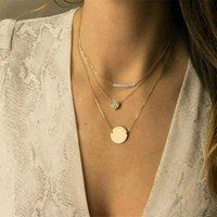 3 Conjunto Collar para Mujeres Imitación Pearl Colgante Custom Letras Charking Acero Inoxidable Cadena de oro Collar de oro de la cadena de oro regalos