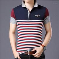 Polo manga delgada ocasional de negocio camisetas para hombre de lujo del diseñador camisas rayadas 5XL remiendo de verano para hombre de los polos de la solapa de cuello corto