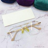 جديد تصميم الأزياء النظارات البصرية 0745 البيضاوي عدسة المعادن نصف إطار شعبية نمط أعلى جودة حار بيع hd واضحة عدسة