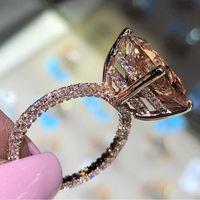 Novas senhoras anel rosa ouro grande quadrado cubic zirconia jóias casamento casamento dedo vintage anéis para homens e mulheres