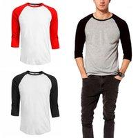 O Neck Tshirt Casual 3 4 Sleeve Solid Color Tshirt Men Tops Tees 20ss Men