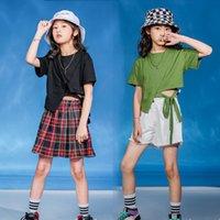Escenario Desgaste Niños Ballroom Hip Hop Dancing Ropa Sudadera Top Cultivo Pantalones cortos para niñas Carnaval Jazz Dance Traje Ropa Calle