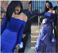 Stylish Two Pieces Royal Blue Homecoming Dresses Off Shoulder Long Sleeve Top Lace Evening Party Gown Ruffles Bottom Prom Wear