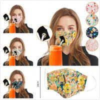 ağız yüz maskesi toz geçirmez delik içme suyu, su ile Pamuk baskılı saman maske kamuflaj çiçek mektup kelebek saman maskesi 5 Renk DHL