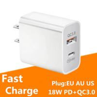 Pupping EU / US / AU PD + QC 3.0 Caricabatterie per cellulare ricarica rapida Tipo-C 18W Caricatore PD Multi Plug per Samsung Nota 10 S10 HTC LG
