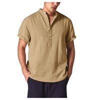 Männer Casual Hemden 2021 Sommer Herren Mode Kurzarm Solid Button Daunen Atmungsaktives und komfortables Bettwäsche-Baumwollhemd