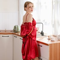 Robe Female Spring and Summer New Satin Ladies Nightgown Bri...