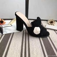 Классическая женщина сандалии леди лето роскошь дизайнер сандалии металла пряжки кожа сексуальные высокие каблуки Грубый heel10cm Половина тапочки 34-42