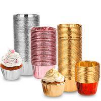 알루미늄 호일 컵 케이크 헤밍 컵 베이킹 저항 건강 컵 케이크 종이 컵 홀더 안전 0 구워 도자기 퓨어 컬러 14tm의 C2