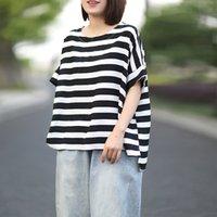 T-shirt das mulheres Johnature Women White e preto listrado t - shirts manga curta O-pescoço 2021 Tops de verão casual algodão solto