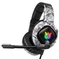 Onikuma K19 3.5mm Kablolu Oyun Kulaklık Mic Ile Camo Kask PC Stereo Kulaklıklar Xbox One / Laptop Tablet Için LED Işık / Telefon Kamuflaj