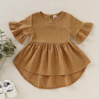 INS 100% Algodão Verão Baby Girl Dress Roupas Rodada Collar vestido cor sólida Ruffles Design Menina Princesa