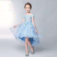 Blue Lace Girl's Pageant Flower Girls Dresses per Wedding Butterfly Appliques Princess Paillettes Bambini Prima Comunione Partito Evento Formale Abbigliamento formale