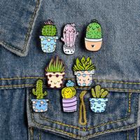 Kaktus-nette kleine lustige Emaille Broschen Pins für Frauen Demin Hemd Dekor Brosche Metall Kawaii Abzeichen Fashion Jewelry