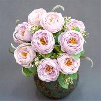 """Sahte Camellia (9 kaynaklanıyor / demet) 18.11"""" Uzunluk Simülasyon Bahar Tea Rose Düğün Ev Dekoratif Yapay Çiçekler için"""