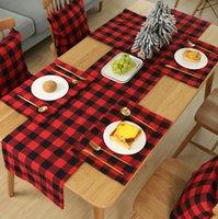 격자 무늬 플레이스 매트 크리스마스 장식 레드 블랙 격자 무늬 테이블 칼 44 * 29cm 플레이트 플레이스 매트 식탁보 크리스마스 홈 파티 장식 GGA3562-7