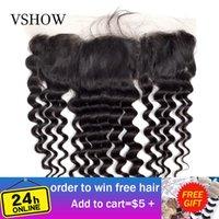 VShow Pre щипковых 13x4 Сыпучие глубокая волна Кружева Фронтальная Свободная часть бразильского Фронтальная с ребенком волос 130% Плотность Remy человеческих волос