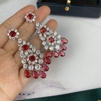 Pendientes de plata de la joyería S925 aguja pendientes lleno de flores de diamantes de joyería mejor regalo para las mujeres