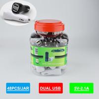 플라스틱 항아리 담당 듀얼 USB 차 충전기 두 개의 USB 포트와 UPC 바코드 인기있는 자동차 충전기 2,100mA있는 모든 휴대 전화