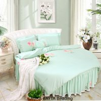 Round Corner letto in seta letto di regina KingSize Luce Luxury Bed Set copripiumino rotonda del lenzuolo Imposta rotonda Bedding verde Peony Quilt Cover