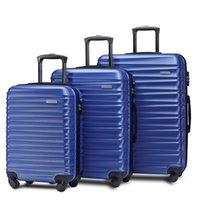 3 bitar av bagage, bärbart ABS-vagnsfall 20/24/28 tums blå, 8-hjuls roterande bagagefall som kan utökas, med teleskopisk handl