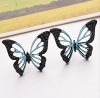 나비 귀걸이 수지 실버 도금 된 나비 귀 스터드 한국어 스타일 귀 핀 선물