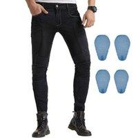 Ropa de motocicleta 2021 Pantalones de montar Denim Jeans con 4 x Honeycomb Knee Hip protectores Pads para motorista Ciclismo Motocross Racing off Road