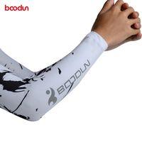 2PCS Boodun Ice tecido respirável UV Protection Arm Sleeve bicicleta da aptidão que funciona mangas Cotoveleira desporto ao ar livre Arm Warmers