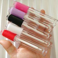 Commercio all'ingrosso Lip Gloss imballaggio libero rotondo Lip Gloss bottiglie recipienti Rosa Viola Lipgloss tubi tubo vuoto con la spazzola