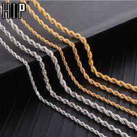 Hip Hop Smycken 3 4 5mm Rope Chain Halsband Twisted Gold Silver Färg 316L Rostfritt stål Halsband för kvinnor Män Smycken