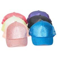 키즈 장식 조각 포니 테일 야구 모자 여름 선 스크린 반짝이 스냅 백은 메쉬 야외 여름 포니 테일 모자 OOA8190 캡