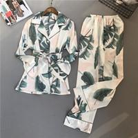 Voplidia Pajamas Femmes Nouveau Spring Auttit Point Pijamas Set Silk sentiment Pyjamas Pour Femmes Pijama Feminino Pajama Y200708