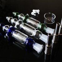Glass Nector Collector Kit With 10mm 14mm Titanium Tips Nail Keck Clip Mini NC Wax Oil Dab Rigs Straw Portable Smoke Smoking Pipes