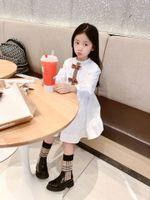 Neue Sommer-Herbst-Mädchen-Kleider Art und Weise lange Ärmel Kleid Bogen-Baby-Kind-Mädchen-Kleinkind-Weiß Prinzessin Paty Kleidung