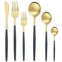 De 1/2 Conjunto de vajilla de oro Cuchillo Tenedor Cuchara de cubiertos de acero inoxidable 304 vajilla de plata mate cuchillería de la cocina