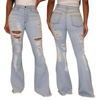 النساء على نطاق واسع الساق سروال جينز المرأة ريترو الصلبة مثير هول جينز ممزق مضيئة بنطلون شارع نحيل الخصر السامي سيدة بانت