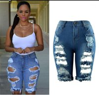 Verão Designer Womens Short Jeans Buracos cintura alta rasgado Senhoras Jeans Mulher Moda magro Tamanho do Joelho Jeans