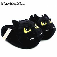 Unisex fumetto del Anime Plush Slippers Come Dragon Trainer stile inverno caldo morbido cotone PP nero casa Fluffy Pantofole Scarpe Y200706