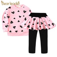 Bear Leader Baby Girls Casual Fashion Clothing Sets 2PCS Long Sleeve Print Sweatshirts and Patchwork Pants Girls Autumn Clothes
