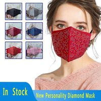 Diamond Face Mask Dustproof Breathable Colorful Cotton Cloth Face Mask reusable adult protective mouth masks YYA305 60pcs