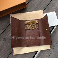 Yüksek Kalite Tuşlar tutucu çanta zincirleri kadınların erkeklere klasik moda toka orijinal kutu harf cüzdanlar
