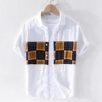 남성 셔츠 리넨 여름 남성 셔츠 짧은 overhemd 슈 남성 패션 복고풍 셔츠 망 흰색 컬러 매칭 셔츠 슬리브