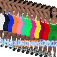 Été femmes Jumpsuit barboteuses Bodycon Pantalons de yoga Mode Fitness pyjama Designer Onesies manches Slim Casual Salopette Salopette CY1098