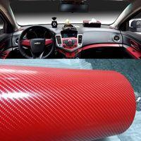 Rouge 4D en fibre de carbone vinyle film carbone autocollant de voiture étanche bricolage Styling voiture feuille Wrap avec dégonflage