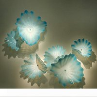 Placa de pared de luz elegante del Aqua Blue Sea estilo del arte decorativo de cristal de Murano Flor placa de cristal decorativo arte de la pared del LED lámpara de pared
