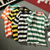 4 estilos hombre de las camisetas impresión de la raya cuello redondo suelta de manga corta camiseta floja Europa y América del manga corta de gran tamaño M-5XL