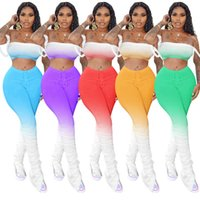 Femmes Dégradé de Bell Pantalons Costume Tops Sexy Crop Sets Pantalons + évasés Tenues poitrine Wraps + bootcut Pantalons Survêtement été S-XXL