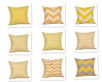 Lino o un'immagine giallo Twill Grey Cuscino Nordico geometrica stile decorativo domestico federa 45x45cm VT0089