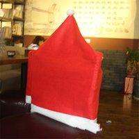 Chapeau Forme Chaise Rouge Couvre non tissé Tissu Housse de siège de bureau de mariage de Noël Bar Chaises manches Meubles de salon Décorations 1 6QY B2