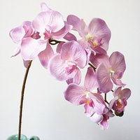 Flores decorativas guirnaldas 10heads gran orquídea artificial europeo retro estilo polilla mariposa orquídeas casero boda fiesta decoración falso si